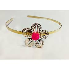 flower hairband hot pink golden flower hairband accessory funk