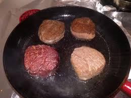 4 steaks prepared differently sear sous vide reverse sear