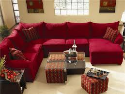 Table With Ottoman Underneath by Furniture Red Fabric Sectional Sofa And Glass Top Coffee Table