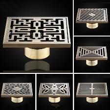 Bathroom Shower Drain Covers Drainers Luxury Brass Carved Flower Decorative Cover Bathroom