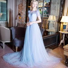 light blue wedding dresses 2016 sheer back flower light sky blue scoop