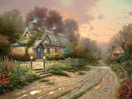 kinkade teacup cottage painting teacup cottage print for sale