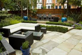 Timber Patio Designs Large Paved Garden Terrace With Sunken Paved Area And Timber