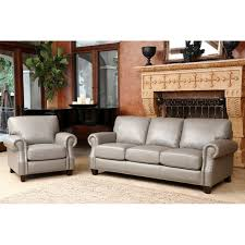 3pc Living Room Set Brown Bonded Leather Sofa Loveseat Living Room Set Pillows