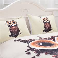 cute owl coffee beans printed quilt cover with 2 pillowcases by