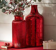 Small Red Vases Chalet Red Mercury Glass Vases Pottery Barn