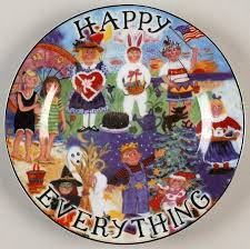 happy everything plates santa barbara ceramic designs happy everything at replacements ltd
