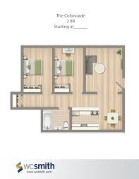 2 bedroom floor plans the colonnade wc smith