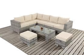 Rattan Garden Furniture Sofa Sets Pe Wicker Rattan Dining Sofa Chair Outdoor Sectional Sofa Set