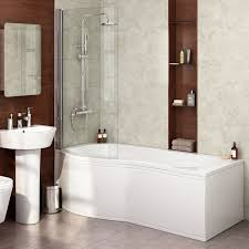 stylish bathroom decor featuring small p shaped shower bath with