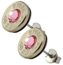 nickel earrings black gun thin nickel plated 40 s w bullet shell swarovski