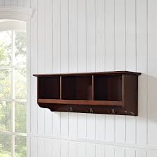 brennan mahogany entryway storage shelf crosley furniture storage