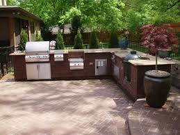 kitchen awesome outdoor kitchen design with l shaped red brick