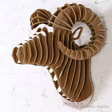 wood sculpture decor wall ram creative sheep hanging home decor 3d diy wooden sculpture