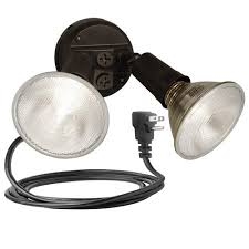 Outdoor Flood Light Fixtures Brinks 2 Head Plug In Flood Security Light Bronze Walmart Com