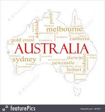 Australian Map Illustration Of White Australia Word Cloud Map