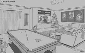 interior livingroom living room point perspective of interior living room drawing