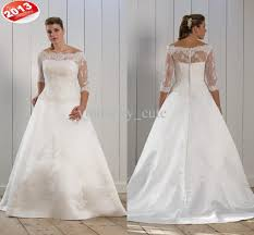 wedding dresses plus size cheap wholesale 2013 new style bateau three quater sleeve a line button