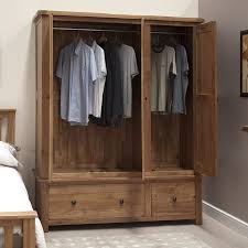 Solid Pine Wardrobes Tilson Solid Oak Bedroom Furniture Large Triple Wardrobe With