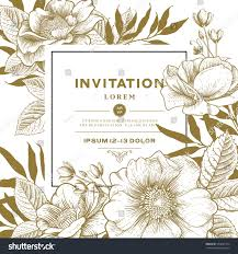 Wedding Invitation Blank Cards Vector Card Vintage Victorian Graphic Floral Stock Vector