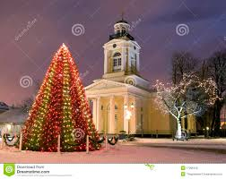 New Year Decoration For Church by Christmas Tree Near Church At New Year Eve Royalty Free Stock