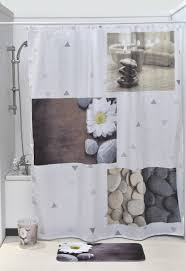 Zen Floor L Printed Shower Curtain Zen Garden Fabric Polyester 71 W X 79 L