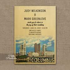 columbus ohio skyline postage st wedding invitations