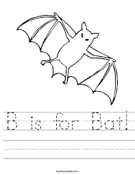 b is for bat worksheet twisty noodle theme halloween