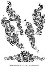vector set henna style floral paisley stock vector 433805665