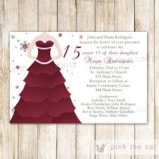 quinceanera party invitations winter invitations quinceanera sweet 16 burgundy dress u2013 pink the cat