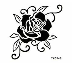 best waterproof tattoo sticker black and white rose body colored