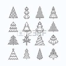 graphical tree set linear style royalty free