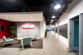 Red Accent Wall by Reception And Entry For An Office Space Aqua Chairs Accent Wood