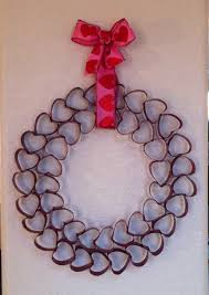 valentines day wreath made from toilet paper rolls and spray