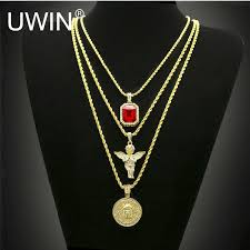 hip necklace chain images Hip hop gold color necklace iced out rhinestone crystal jewelry jpg