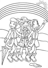 Holly Hobbie And The Hey Girls Club Walking After Rainy Day Rainy Day Coloring Pages