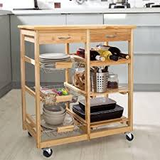 wine rack kitchen island amazon com clevr rolling bamboo kitchen cart island trolley