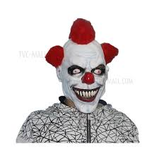 Scary Halloween Clown Costumes Image Red Wig Hair Scary Halloween Clown Costume Mask