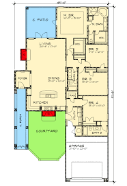 floor plans for narrow lots narrow lot courtyard home plan 36818jg architectural designs