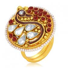 rings online gold images Sukkhi fabulous designer traditional cocktail peacock gold plated jpg