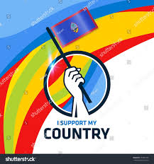 Guam Flag Support Guam Hand Holding Country Flag Stock Vector 453934102