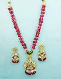 fashion jewelry red necklace images Buy beautiful ruby red vilandi kundan pendant set online high jpg