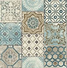 Tile Wallpaper Moroccan Style Mosaic Wallpaper In Blue Blue Copper Gray