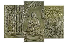 Ceramic Tile Mural Backsplash by Buddha Bamboo Grove Ceramic Tile Mural Back Splash Set Of 3