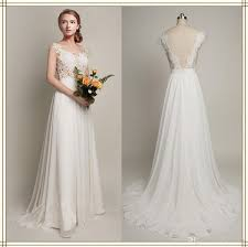 discount sheer lace corset beach wedding dress chiffon court