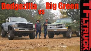 chevy vega green old vs older dodgezilla ram 1500 vs big green chevy k10 on the