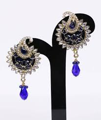 navy blue earrings buy navy blue gold kundan peacock drop designer earrings online