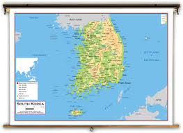 Map Of South Korea South Korea Physical Educational Wall Map From Academia Maps