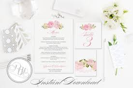 Table Place Cards by Dusty Pink Peonies Wedding Invite Rsvp Save The Date Menu