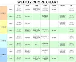 house chore schedule template schedule template free